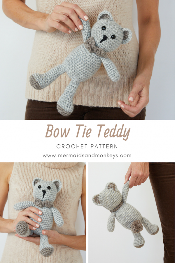 The Bow Tie Teddy is the perfect gift for the little ones in your life who need another guest for their tea parties. #crochettoy #crochetteddy #amigurumi #crochetpattern #crochetlove