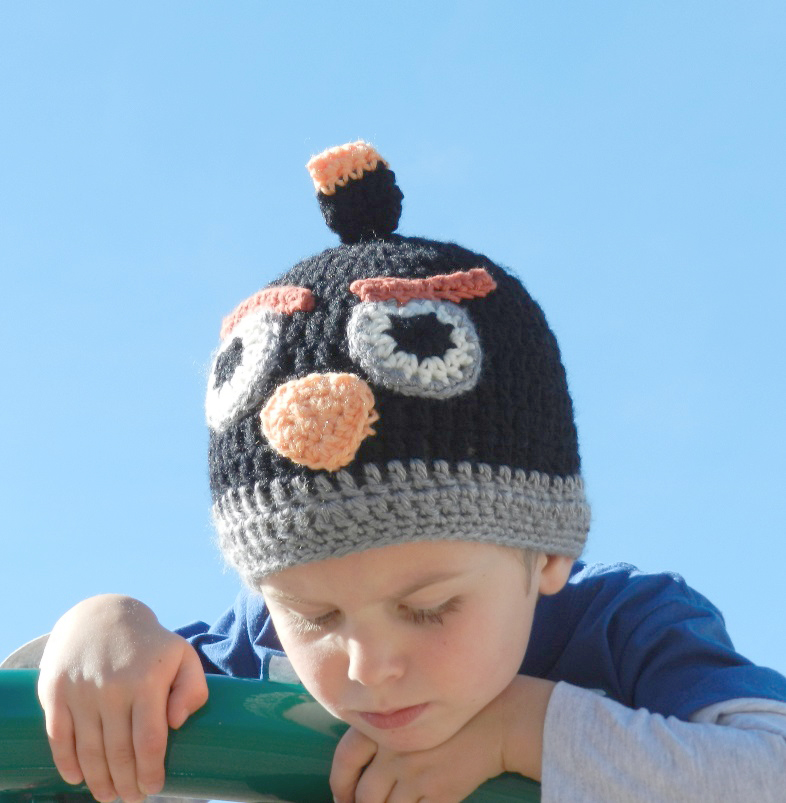 Black Angry Birds Hat Crochet Pattern