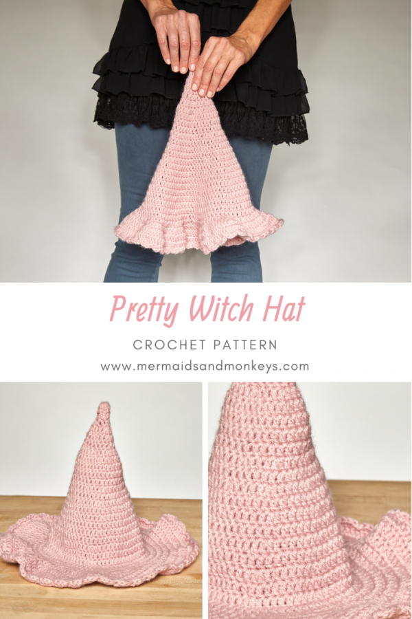 If you're looking for a fun holiday project or a one of a kind costume, check out this pretty witch hat. #crochethat #crochetwichhat #crochetpattern