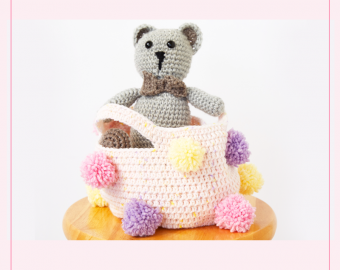 Girls Pom Pom Storage Basket Crochet Pattern