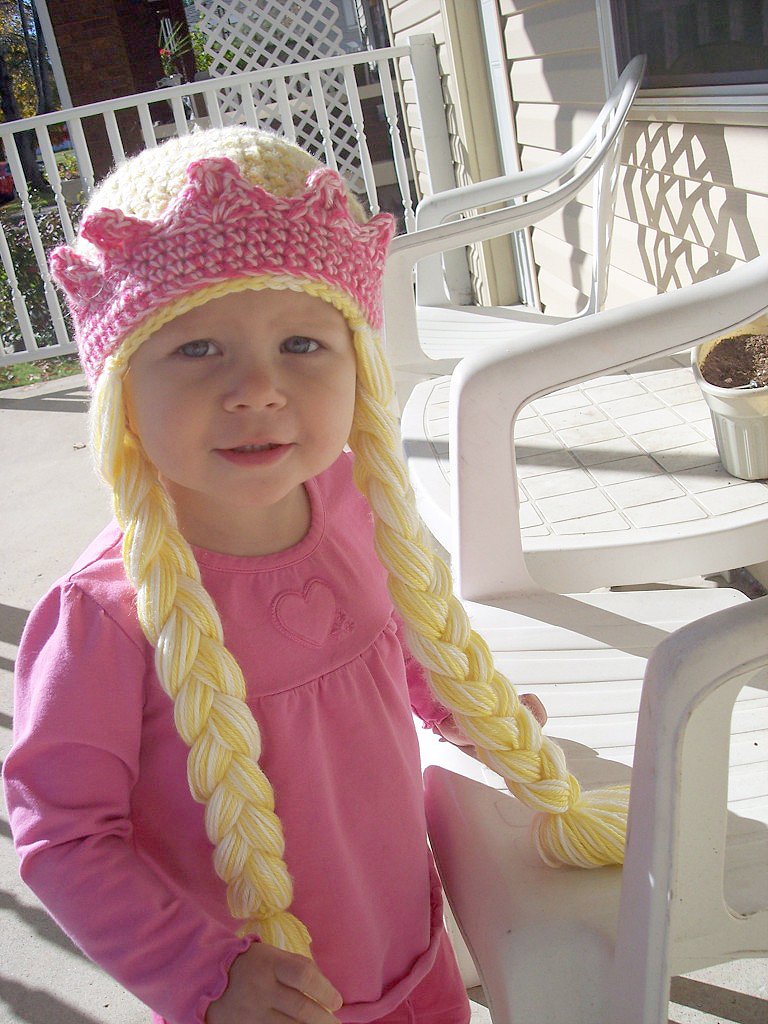 Princess Hat with Braids and Crown Crochet Pattern