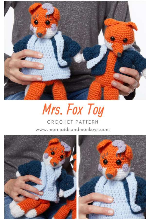 The Mrs Fox Toy is this adorable little fox with rosy cheeks and a little bow on her head. #crochettoy #amigurumi #crochetpattern #crochetlove