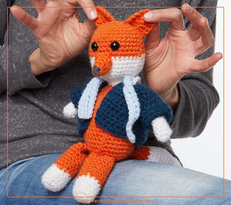 ALT Text: The Mr Fox Crochet Toy entirely stitched up with single crochets so this is an easy project with a big payoff. #crochettoy #amigurumi #crochetpattern #crochetlove