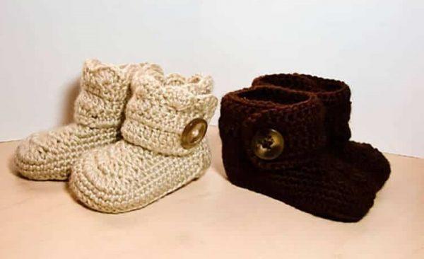 Crochet Wrap Around Button Infant Boots