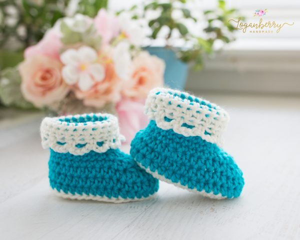 Lace-Trim Baby Booties