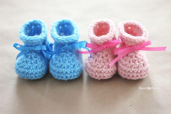 Crochet Newborn Baby Booties