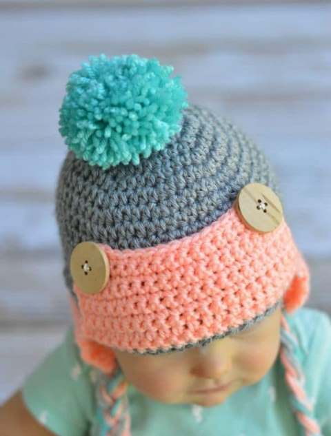 Baby Crochet Trapper Hat - If you're in a rush, these free crochet baby hat patterns are perfect for showing how much you really care, without taking a month to complete. #crochetbabyhatpattern #crochethat #crochetpattern #crochetbabybeanie #crochetaddict