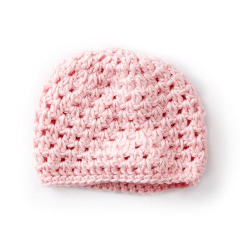 Caron Baby's First Cluster Hat - If you're in a rush, these free crochet baby hat patterns are perfect for showing how much you really care, without taking a month to complete. #crochetbabyhatpattern #crochethat #crochetpattern #crochetbabybeanie #crochetaddict