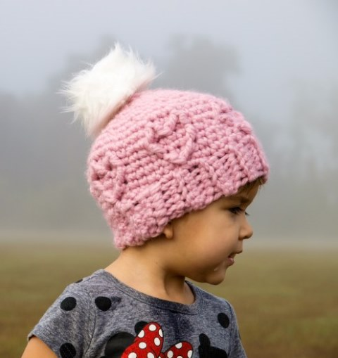 Chunky Cabled Heart Hat - If you're in a rush, these free crochet baby hat patterns are perfect for showing how much you really care, without taking a month to complete. #crochetbabyhatpattern #crochethat #crochetpattern #crochetbabybeanie #crochetaddict