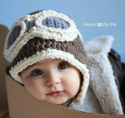 Crochet Baby Aviator Hat - If you're in a rush, these free crochet baby hat patterns are perfect for showing how much you really care, without taking a month to complete. #crochetbabyhatpattern #crochethat #crochetpattern #crochetbabybeanie #crochetaddict