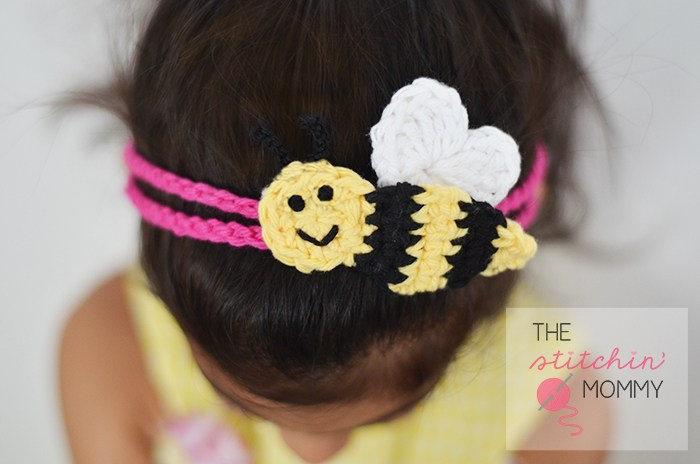 Bee Mine Headband - This list of unique crochet baby headbands for girls are sweet and simple. You can whip these free crochet patterns up in no time, and there are so many options. #CrochetBabyHeadbands #BabyHeadbandPatterns #FreeCrochetPattern
