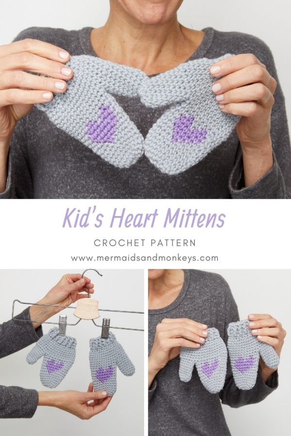 This crochet mittens pattern is small and easy to follow. This is one of the most simple crochet patterns for graphing that you'll find. #CrochetMittens #CrochetGloves CrochetForKids #CrochetPattern