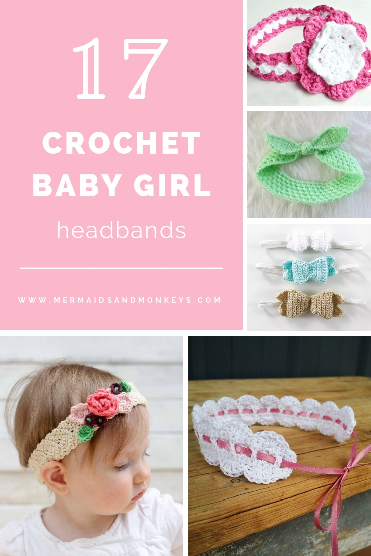 This list of unique crochet baby headbands for girls are sweet and simple. You can whip these free crochet patterns up in no time, and there are so many options. #CrochetBabyHeadbands #BabyHeadbandPatterns #FreeCrochetPattern