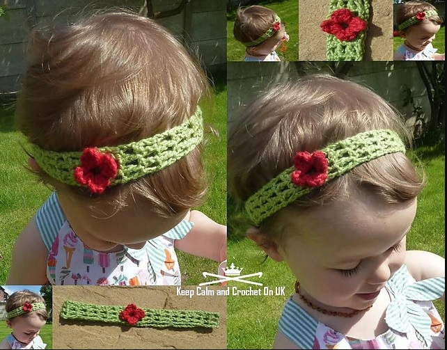 Rosy Baby Headband - This list of unique crochet baby headbands for girls are sweet and simple. You can whip these free crochet patterns up in no time, and there are so many options. #CrochetBabyHeadbands #BabyHeadbandPatterns #FreeCrochetPattern