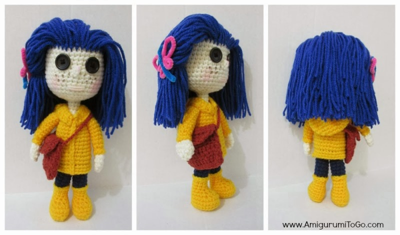 Coraline Doll - These free crochet doll patterns are a mix of amigurumi patterns and other techniques. Create your own world with dolls that will take you on a journey. #AmigurumiPatterns #CrochetDollPatterns #FreeCrochetPatterns