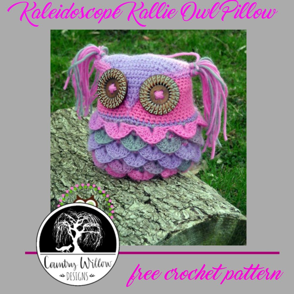 Kaleidescope Owl Crochet Pillow