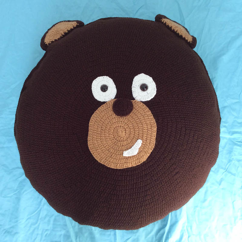 Kodiak Bear Pillow Pal - These crochet pillows are fun and an adventure to make. If you're looking for creative kids pillows, this list will be your go to. #CrochetPillowPatterns #CrochetPatterns #CrochetAddict
