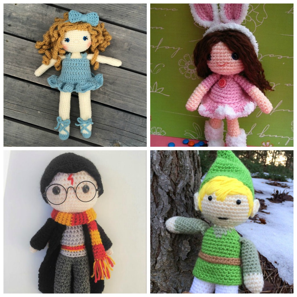 Theses free crochet doll patterns are a mix of amigurumi patterns and other techniques. Create your own world with dolls that will take you on a journey. #AmigurumiPatterns #CrochetDollPatterns #FreeCrochetPatterns