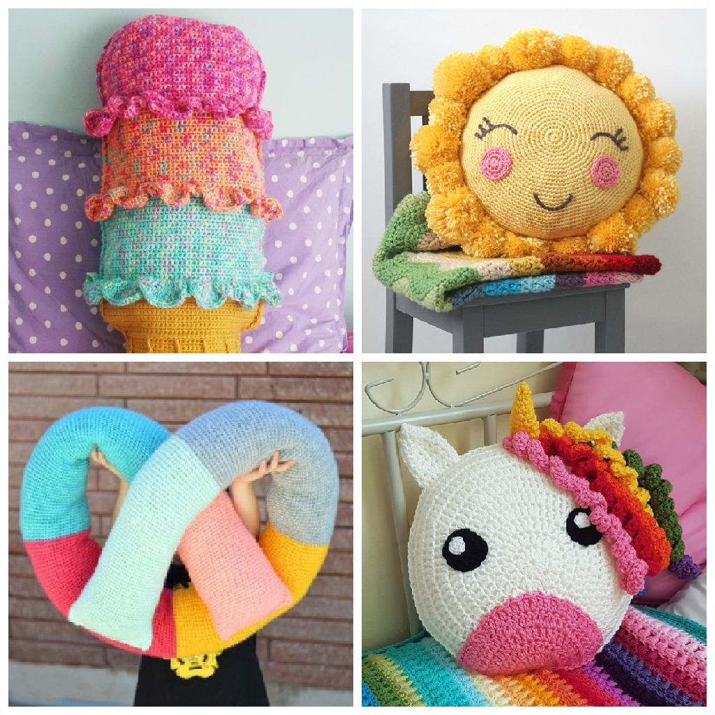 These crochet pillows are fun and an adventure to make. If you're looking for creative kids pillows, this list will be your go to. #CrochetPillowPatterns #CrochetPatterns #CrochetAddict