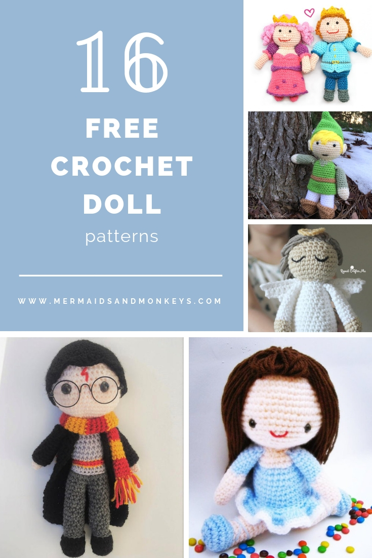 These free crochet doll patterns are a mix of amigurumi patterns and other techniques. Create your own world with dolls that will take you on a journey. #AmigurumiPatterns #CrochetDollPatterns #FreeCrochetPatterns