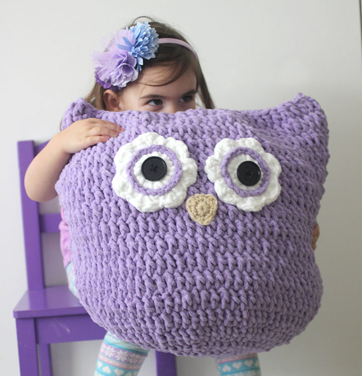 Oversized Crochet Owl Pillow - These crochet pillows are fun and an adventure to make. If you're looking for creative kids pillows, this list will be your go to. #CrochetPillowPatterns #CrochetPatterns #CrochetAddict