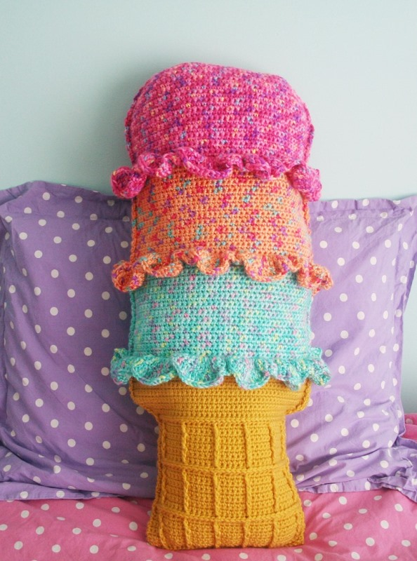 Rainbow Shertbet Throw Pillow - These crochet pillows are fun and an adventure to make. If you're looking for creative kids pillows, this list will be your go to. #CrochetPillowPatterns #CrochetPatterns #CrochetAddict