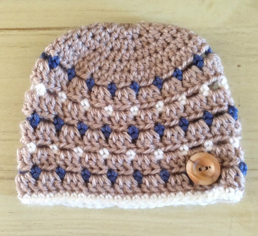Block Stitch Hat - These free newborn crochet hat patterns are fun and easy to work on. These baby accessories are so fast to make and anyone can do it. #CrochetBabyHatPatterns #CrochetHatPatterns #CrochetNewbornHats