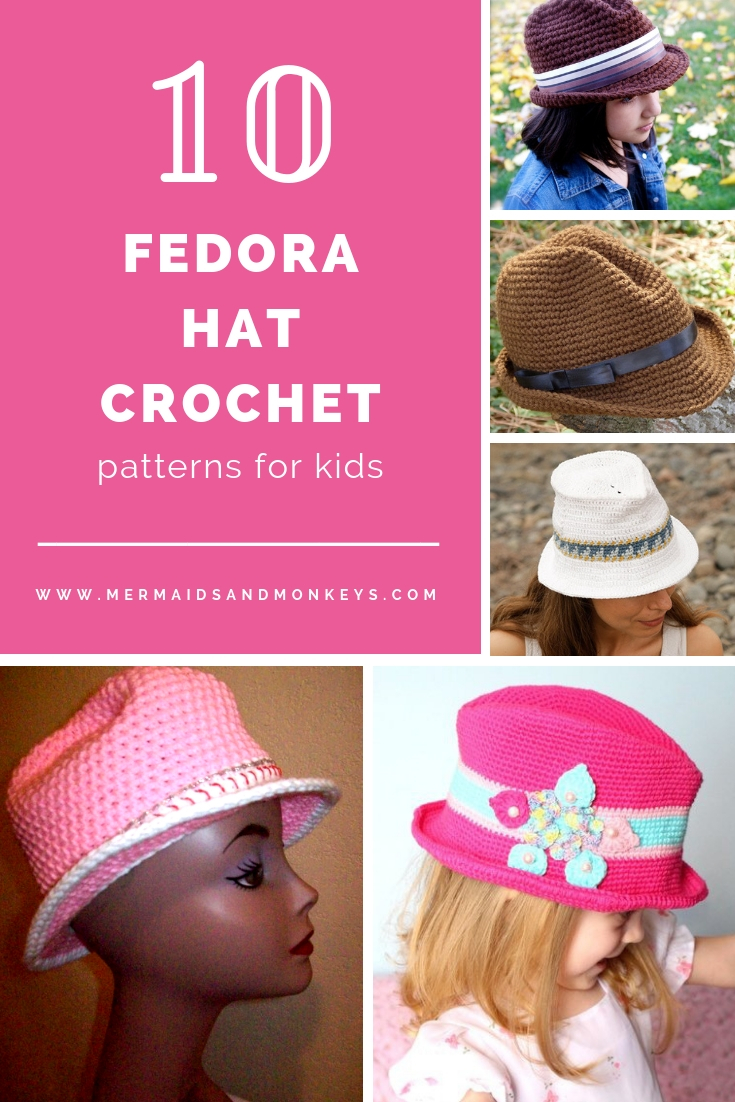 These free crochet hat patterns are perfect for sparking smiles and joy into a little child's life. Any excuse for fun is a good one in my book. #KidsCrochetHatPatterns #FedoraCrochetHat #CrochetHatPatterns #CrochetFedoraHat