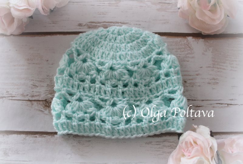 Hat with Lace Design - These free newborn crochet hat patterns are fun and easy to work on. These baby accessories are so fast to make and anyone can do it. #CrochetBabyHatPatterns #CrochetHatPatterns #CrochetNewbornHats