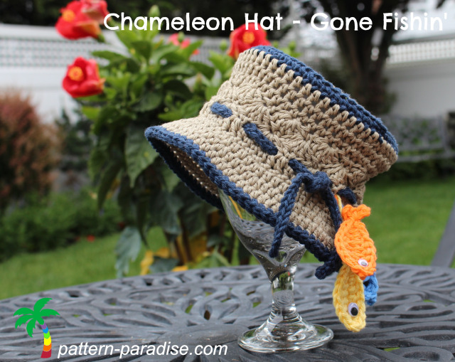 Chameleon Hat - Gone Fishin' - All of these cute patterns are unique and come in a range of sizes. Pick a crochet hat pattern your kid will love and go with it. #SummerCrochetHat #CrochetPatterns #FreeCrochetHats