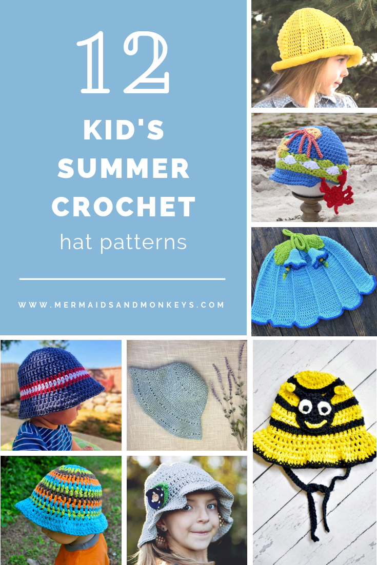 All of these cute patterns are unique and come in a range of sizes. Pick a crochet hat pattern your kid will love and go with it. #SummerCrochetHat #CrochetPatterns #FreeCrochetHats
