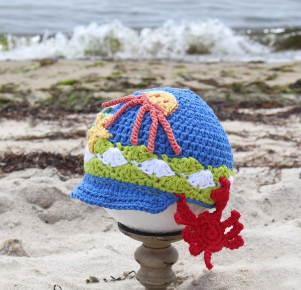 Splish Splash Crochet Hat - All of these cute patterns are unique and come in a range of sizes. Pick a crochet hat pattern your kid will love and go with it. #SummerCrochetHat #CrochetPatterns #FreeCrochetHats