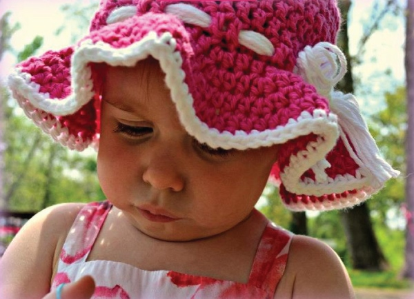 Toddler Sun Hat - All of these cute patterns are unique and come in a range of sizes. Pick a crochet hat pattern your kid will love and go with it. #SummerCrochetHat #CrochetPatterns #FreeCrochetHats