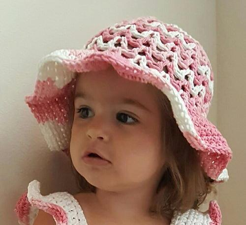 Valerie's Summer Sun Hat - All of these cute patterns are unique and come in a range of sizes. Pick a crochet hat pattern your kid will love and go with it. #SummerCrochetHat #CrochetPatterns #FreeCrochetHats