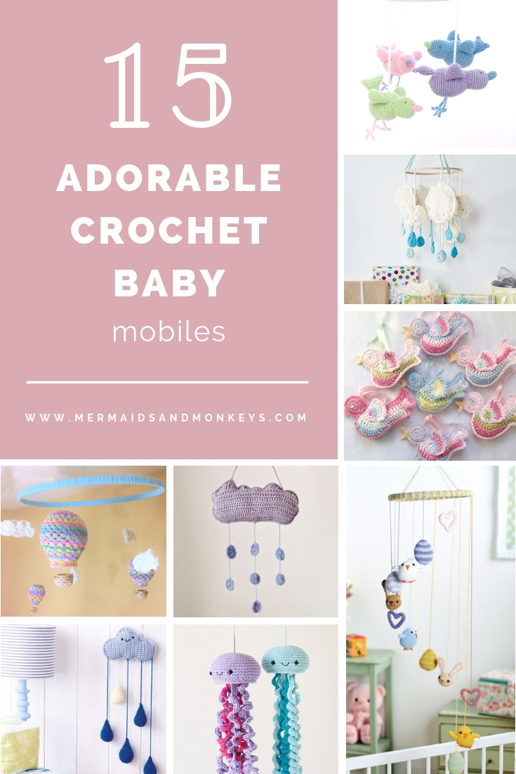 Crochet baby mobiles are colorful, fun and creative. Grab your hook and your favorite type of yarn, and get started on a baby mobile for someone you know. #CrochetBabyMobiles #CrochetPatterns #FreeCrochetPatterns