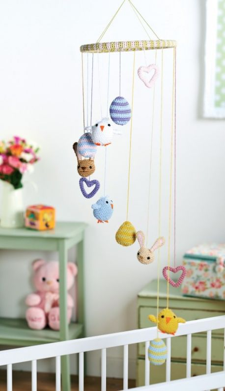 Springtime Amigurumi Figures - Crochet baby mobiles are colorful, fun and creative. Grab your hook and your favorite type of yarn, and get started on a baby mobile for someone you know. #CrochetBabyMobiles #CrochetPatterns #FreeCrochetPatterns