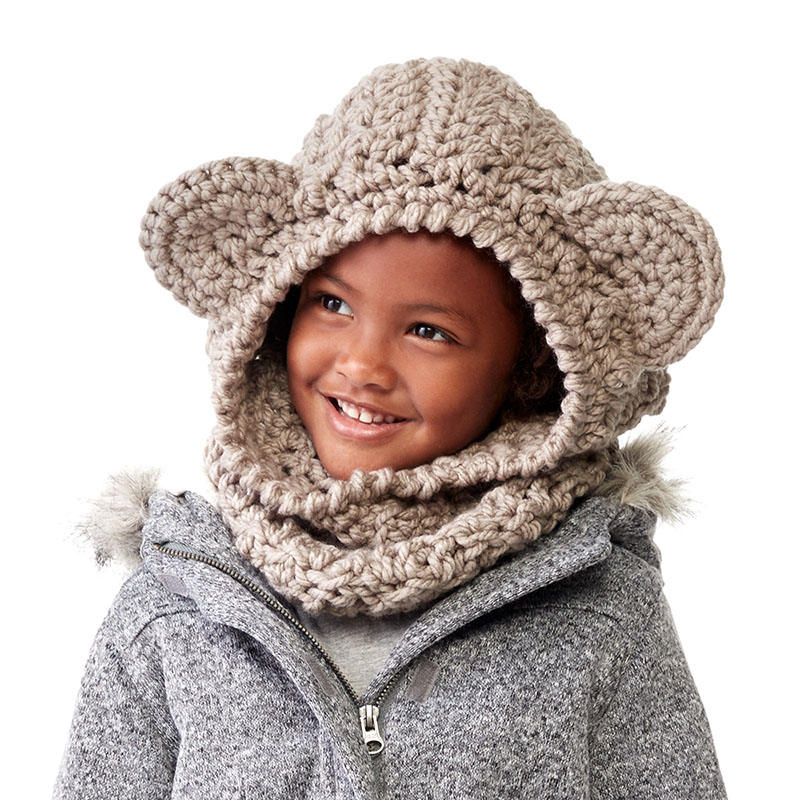 Bernat Crochet Bear Hood - These hooded free crochet scarf patterns are excellent alternatives to full-blown costumes when your kid is not into that kind of thing. #freecrochetscarfpatterns #crochetscarf