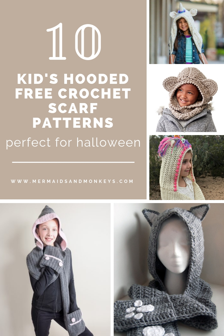 These hooded free crochet scarf patterns are excellent alternatives to full-blown costumes when your kid is not into that kind of thing. #freecrochetscarfpatterns #crochetscarf