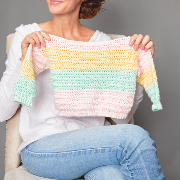 Children's Pastel Stripes Sweater - These crochet sweaters make for amazing gifts, that will surely be well used, and well worn. #CrochetSweaterPatterns #CrochetSweater #CrochetPatterns