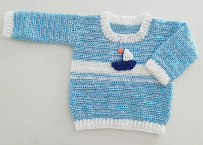 Crochet Set Sail Baby Sweater - These crochet sweaters make for amazing gifts, that will surely be well used, and well worn. #CrochetSweaterPatterns #CrochetSweater #CrochetPatterns