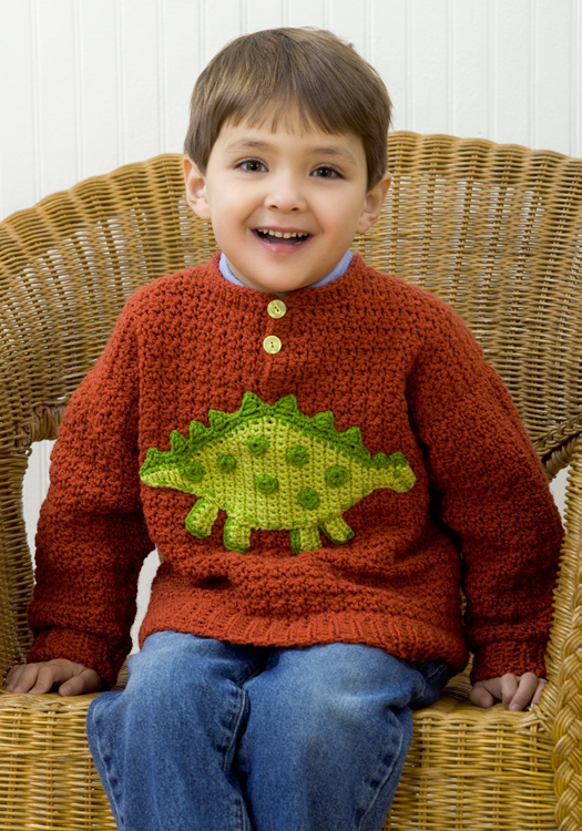 Dinosaur Sweater - These crochet sweaters make for amazing gifts, that will surely be well used, and well worn. #CrochetSweaterPatterns #CrochetSweater #CrochetPatterns