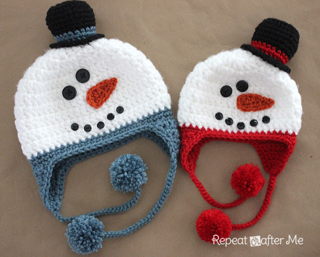 Cozy Snowman Hat - This list of Christmas Crochet hat patterns will supply you with anything from the classics (Santa, Rudolph, Snowman) to fun animals and well-loved characters. #ChristmasCrochetHatPatterns #CrochetHatPatterns #CrochetPatterns