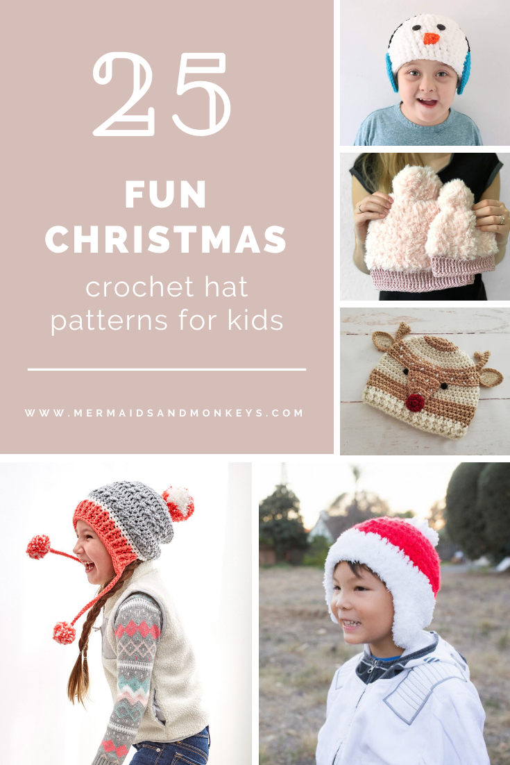 25 Fun Christmas Crochet Hat Patterns for Kids - This list of Christmas Crochet hat patterns will supply you with anything from the classics (Santa, Rudolph, Snowman) to fun animals and well-loved characters. #ChristmasCrochetHatPatterns #CrochetHatPatterns #CrochetPatterns