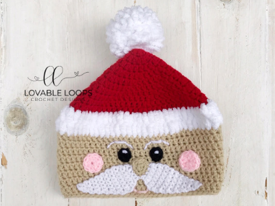 Santa Beanie - This list of Christmas Crochet hat patterns will supply you with anything from the classics (Santa, Rudolph, Snowman) to fun animals and well-loved characters. #ChristmasCrochetHatPatterns #CrochetHatPatterns #CrochetPatterns