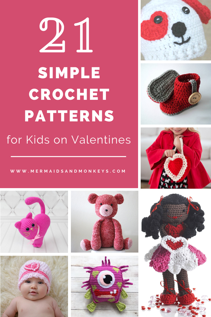 21 Simple Crochet Patterns for Kids on Valentine's - One way you can show your love for kids this Valentine's is by crocheting these simple crochet patterns. #simplecrochetpatterns #crochetpatterns #kidscrochetpatterns