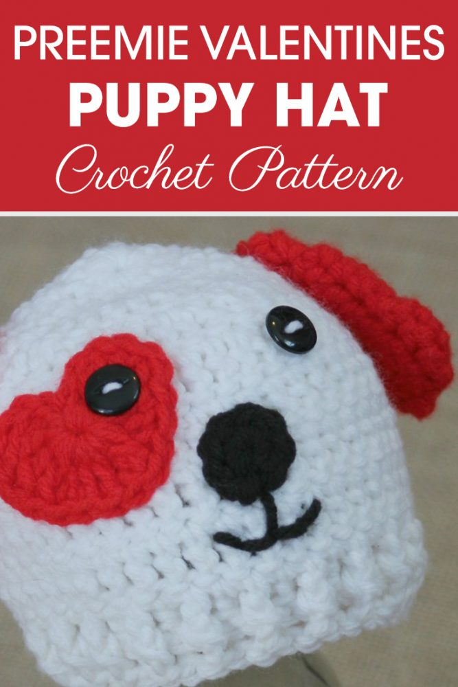 Preemie Newborn Valentine's Puppy Hat - One way you can show your love for kids this Valentine's is by crocheting these simple crochet patterns. #simplecrochetpatterns #crochetpatterns #kidscrochetpatterns