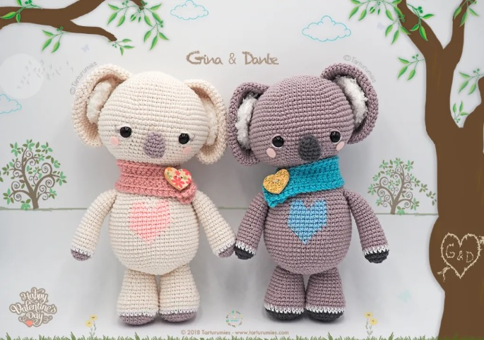 St. Valentine's Koalas - One way you can show your love for kids this Valentine's is by crocheting these simple crochet patterns. #simplecrochetpatterns #crochetpatterns #kidscrochetpatterns