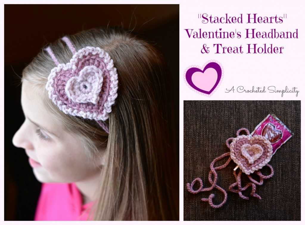 Stacked Hearts Headband & Treat Holder - One way you can show your love for kids this Valentine's is by crocheting these simple crochet patterns. #simplecrochetpatterns #crochetpatterns #kidscrochetpatterns