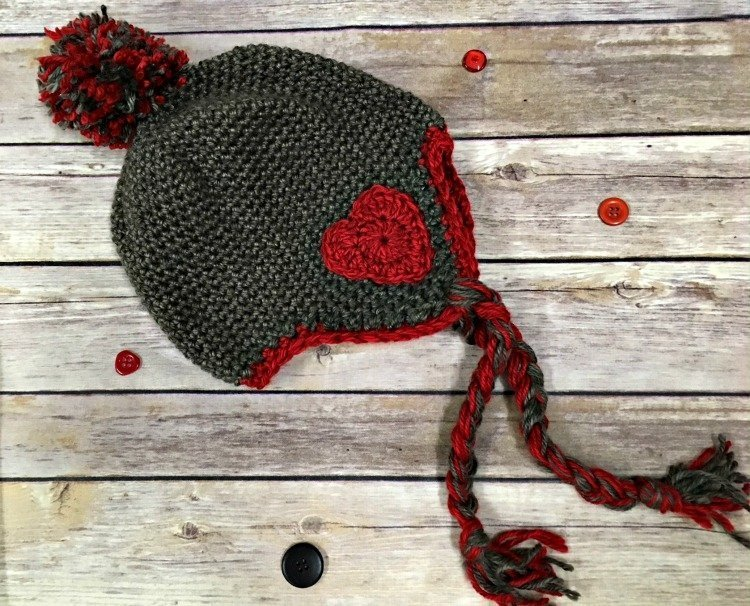 Valentine Earflap Hat - One way you can show your love for kids this Valentine's is by crocheting these simple crochet patterns. #simplecrochetpatterns #crochetpatterns #kidscrochetpatterns