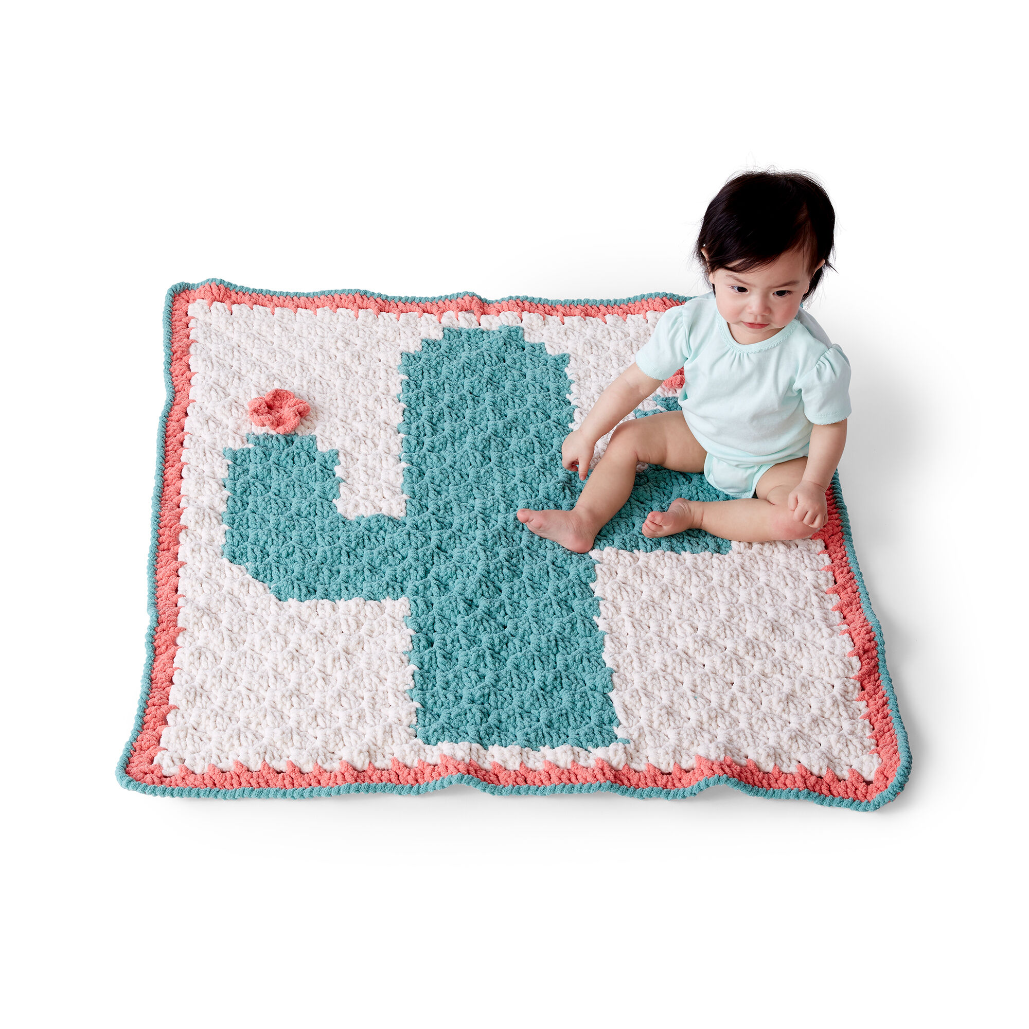Bernat C2C Crochet Cactus Blanket - If you're looking to learn a new crochet skill, check out these 12 corner to corner crochet patterns. #cornertocornercrochetpatterns #C2Ccrochetpatterns #crochetpatterns
